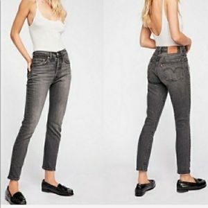Levis 711 Skinny Jeans Mid Rise Gray Raw Hem Crop